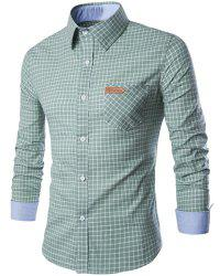 PU Leather Spliced One Pocket Hit Color Shirt Collar Long Sleeves Checked Shirt For Men - GREEN L