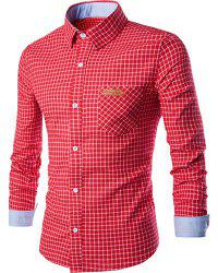 PU Leather Spliced One Pocket Hit Color Shirt Collar Long Sleeves Checked Shirt For Men - RED