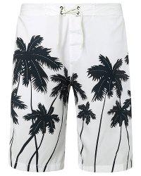 Straight Leg Drawstring Coconut Palm Print Men's Board Shorts - WHITE