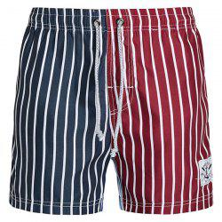 Straight Leg Drawstring Color Block Splicing Vertical Stripes Print  Men's Board Shorts - COLORMIX