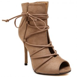 Trendy Lace-Up and Peep Toe Design Pumps For Women - KHAKI