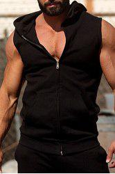 Fashion Hooded Double Pocket Solid Color Sleeveless Fitted Waistcoat For Men - BLACK