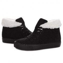 Fold Over Furry Lining Ankle Boots
