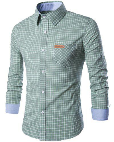 Hot PU Leather Spliced One Pocket Hit Color Shirt Collar Long Sleeves Checked Shirt For Men