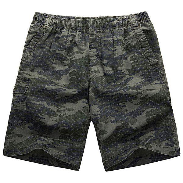 Loose-Fitting Lace-Up Camouflage Pocket Design Straight Leg Shorts Men XL