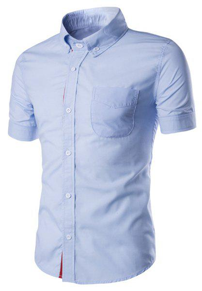 New Simple Braid Spliced One Pocket Slimming Shirt Collar Short Sleeves Button-Down Shirt For Men