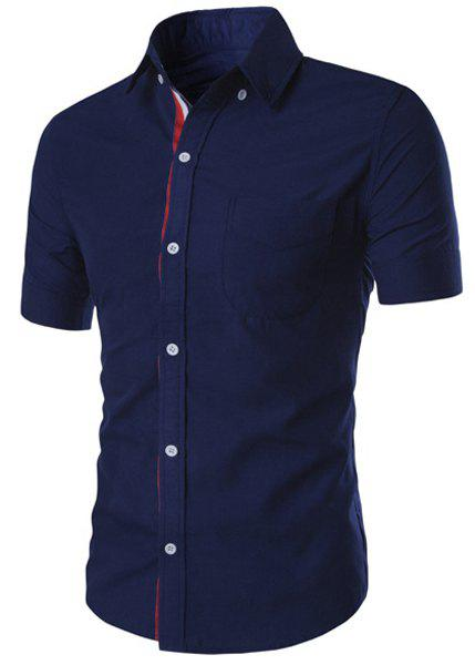 Simple Braid Spliced One Pocket Slimming Shirt Collar Short Sleeves Button-Down Shirt For MenMEN<br><br>Size: M; Color: DEEP BLUE; Shirts Type: Casual Shirts; Material: Cotton Blends; Sleeve Length: Short; Collar: Turn-down Collar; Weight: 0.176KG; Package Contents: 1 x Shirt;