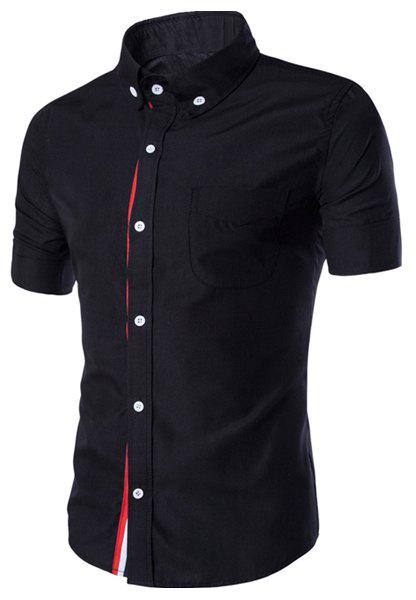 Hot Simple Braid Spliced One Pocket Slimming Shirt Collar Short Sleeves Button-Down Shirt For Men