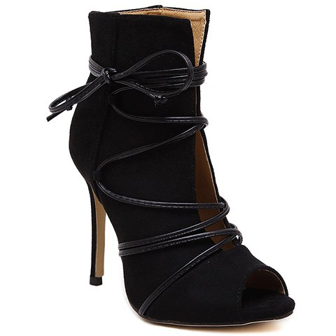 Discount Trendy Lace-Up and Peep Toe Design Pumps For Women