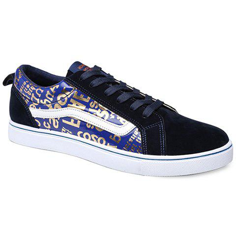 British Style Lace-Up Letter Print Design Sneakers Men