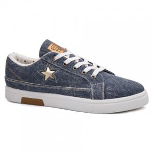 Star Cutout Lace Up Canvas Shoes - Azure - 43