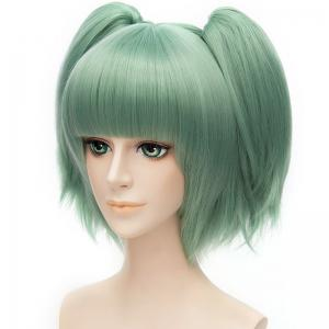 Sweet Short With Bunches Full Bang Fluffy Straight Synthetic Green Kayano Kaede Cosplay Wig -