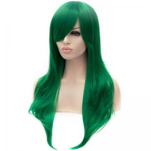Stunning Green Long layered Synthetic Shaggy Wavy Side Bang Lolita Wig For Women -