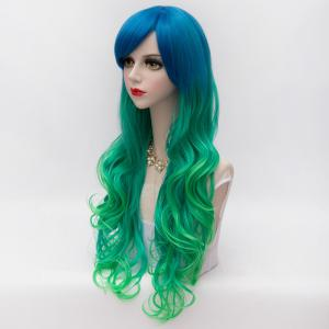 Gorgeous Long Side Bang Synthetic Fluffy Wavy Blue Green Gradient Party Wig For Women -