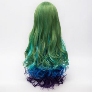 Lolita Long Synthetic Shaggy Wave Vogue Side Bang Multicolor Gradient Party Wig For Women -