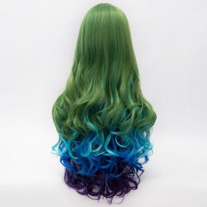 Fashion Multicolor Gradient Fluffy Wavy Centre Part Lolita Long Synthetic Party Wig For Women - COLORMIX