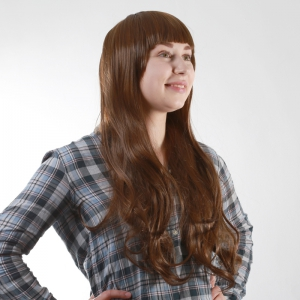 Fashion Fluffy Full Bang Light Brown Charming Long Wavy Synthetic Wig For Women -