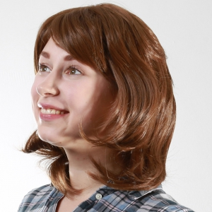 Elegant Medium Synthetic Vogue Fluffy Wavy Capless Deep Brown Mixed Wig For Women -