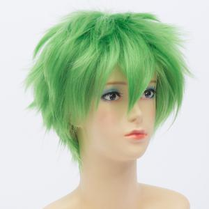 Fluffy Short Anti Alice Hair Wavy Trendy Green Synthetic Roronoa Zoro Cosplay Wig - GREEN