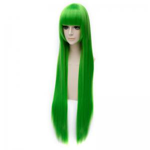 Trendy Silky Straight 100CM Extra Long Synthetic Green Full Bang Code Geass Cosplay Wig -