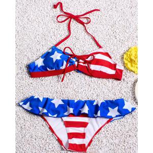 Sexy Halter Neck Backless Striped Star Pattern Flounce Bikini Set For Women