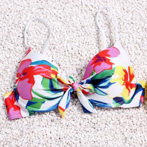 Sexy Spaghetti Strap Backless Flower Pattern High-Tie Bikini Set For Women -
