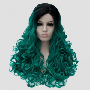 Fluffy Curly Synthetic Stunning Long Black Green Gradient Party Wig For Women - BLACK/GREEN