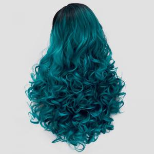 Trendy Black Turquoise Gradient Fluffy Curly Synthetic Long Universal Party Wig For Women -