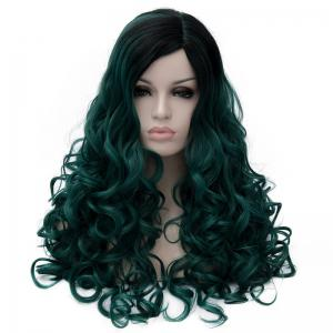 Gorgeous Long Fluffy Curly Black Ombre Blackish Green Synthetic Party Wig For Women -