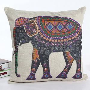 Colorful Cartoon Elephant Printed Square Shape Flax Pillow Case(Without Pillow Inner) - Colormix