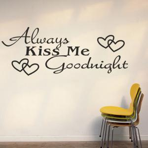 Quality Black Letter Heart Pattern Removeable Wall Stickers -