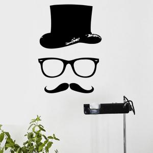Quality Black Gentleman Pattern Removeable Wall Stickers - BLACK