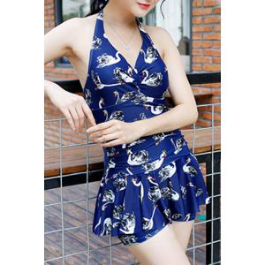 Stylish Halter Sleeveless Printed One Piece Swimwear For Women -