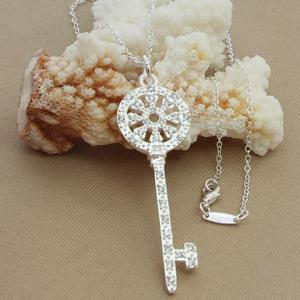 Key Hollow Out Rhinestoned Necklace - SILVER