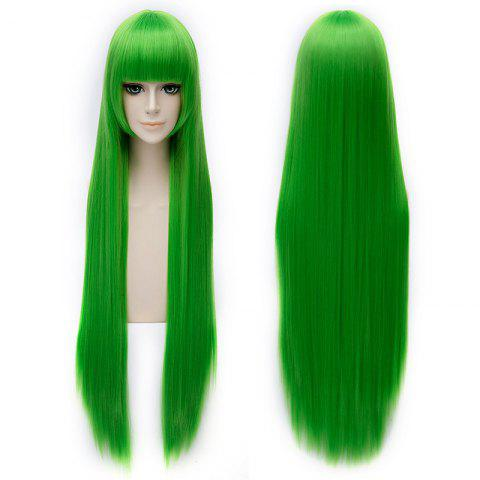 Buy Trendy Silky Straight 100CM Extra Long Synthetic Green Full Bang Code Geass Cosplay Wig