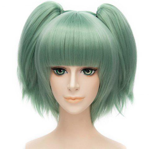 Fashion Sweet Short With Bunches Full Bang Fluffy Straight Synthetic Green Kayano Kaede Cosplay Wig - GREEN  Mobile