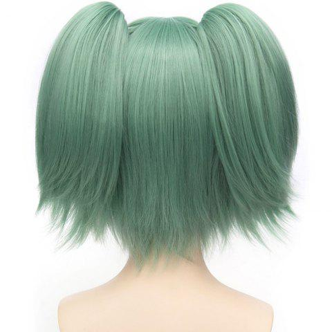 Sale Sweet Short With Bunches Full Bang Fluffy Straight Synthetic Green Kayano Kaede Cosplay Wig - GREEN  Mobile