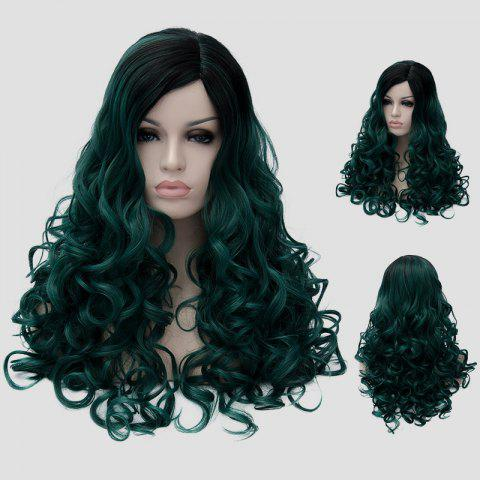 Trendy Gorgeous Long Fluffy Curly Black Ombre Blackish Green Synthetic Party Wig For Women - BLACK AND GREEN  Mobile