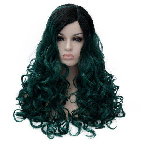 Shop Gorgeous Long Fluffy Curly Black Ombre Blackish Green Synthetic Party Wig For Women - BLACK AND GREEN  Mobile