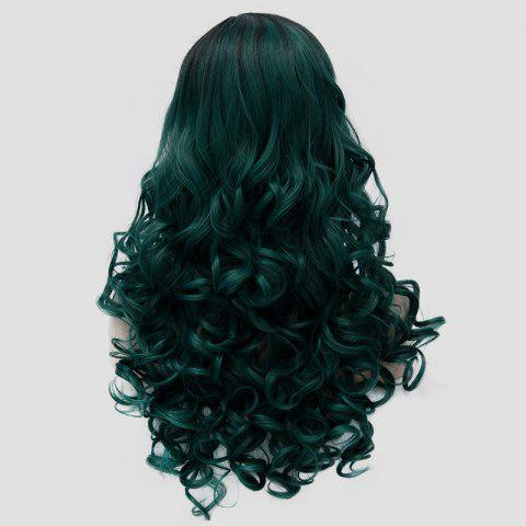 Cheap Gorgeous Long Fluffy Curly Black Ombre Blackish Green Synthetic Party Wig For Women - BLACK AND GREEN  Mobile