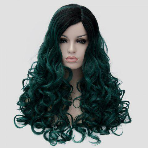 Hot Gorgeous Long Fluffy Curly Black Ombre Blackish Green Synthetic Party Wig For Women - BLACK AND GREEN  Mobile