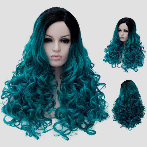 Shop Trendy Black Turquoise Gradient Fluffy Curly Synthetic Long Universal Party Wig For Women - BLACK AND GREEN  Mobile