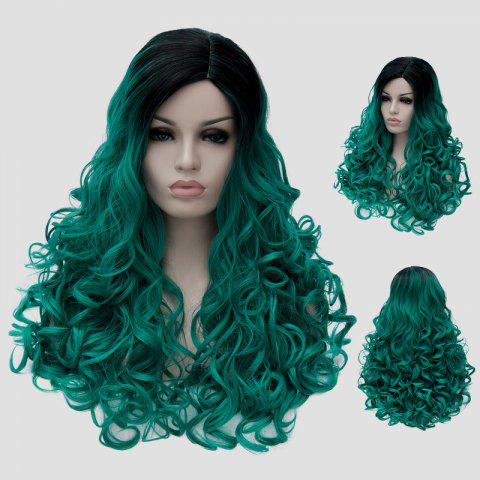 Hot Fluffy Curly Synthetic Stunning Long Black Green Gradient Party Wig For Women - BLACK AND GREEN  Mobile