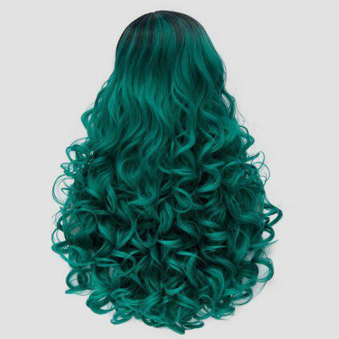 Affordable Fluffy Curly Synthetic Stunning Long Black Green Gradient Party Wig For Women - BLACK AND GREEN  Mobile
