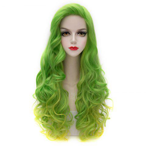 Best Attractive Long Green Golden Gradient Fluffy Wavy Synthetic Party Wig For Women COLORMIX