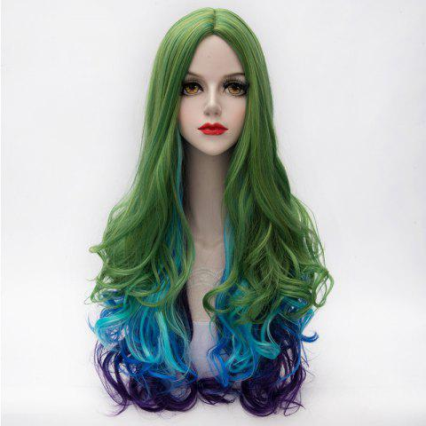 Affordable Fashion Multicolor Gradient Fluffy Wavy Centre Part Lolita Long Synthetic Party Wig For Women - COLORMIX  Mobile