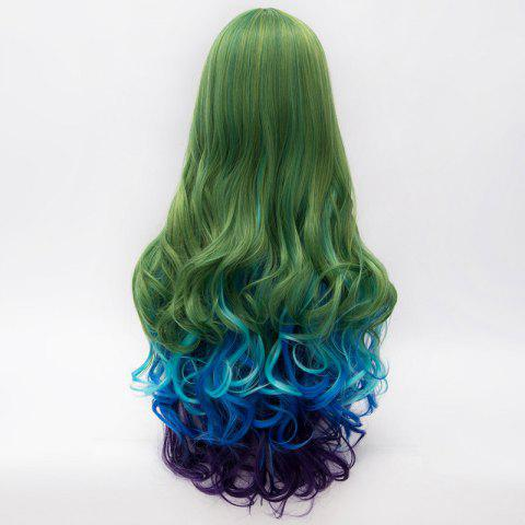 Store Fashion Multicolor Gradient Fluffy Wavy Centre Part Lolita Long Synthetic Party Wig For Women - COLORMIX  Mobile