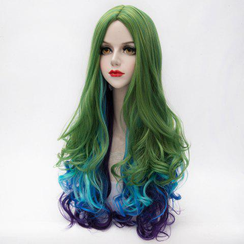 Fancy Fashion Multicolor Gradient Fluffy Wavy Centre Part Lolita Long Synthetic Party Wig For Women - COLORMIX  Mobile