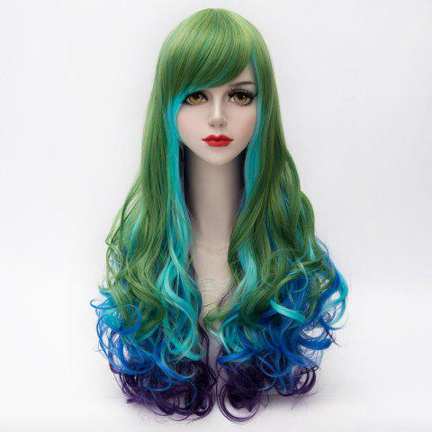 Affordable Lolita Long Synthetic Shaggy Wave Vogue Side Bang Multicolor Gradient Party Wig For Women