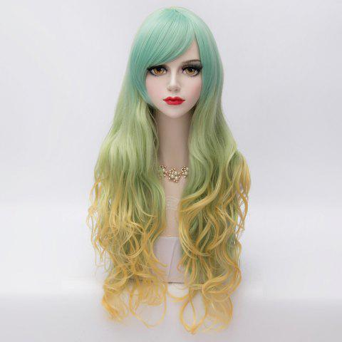 Fancy Fluffy Wavy Long Layered Stunning Side Bang Synthetic Three Colors Gradient Party Wig For Women